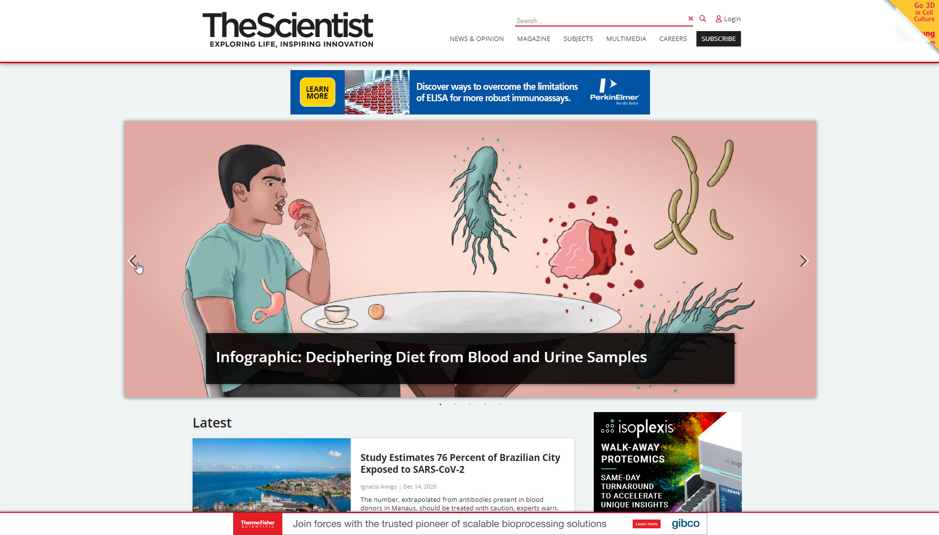 The Scientist, Homepage